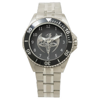 Silver And Black Dragon Trine Celtic Knots Art Wristwatch