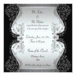 Silver and black Elegant wedding invitations