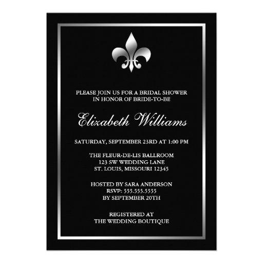 Silver and Black Fleur de Lis Bridal Shower Invitations