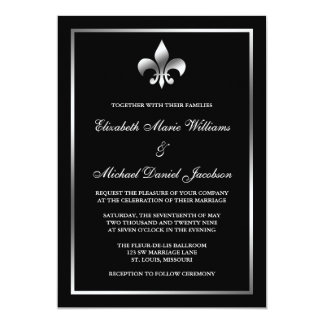 Silver And Black Fleur De Lis Wedding Card
