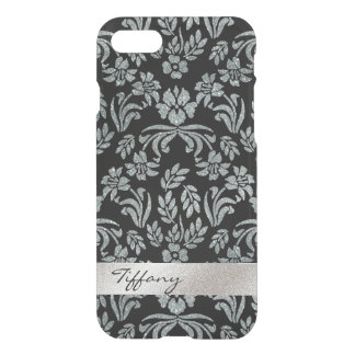 Silver and Black Floral Damask Clear iPhone 7 Case