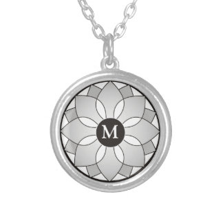 Silver And Black Floral Framed Monogram Personalized Necklace