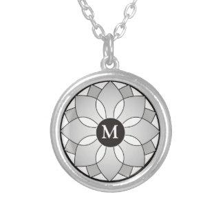 Silver And Black Floral Framed Monogram Round Pendant Necklace