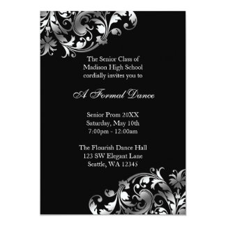Silver and Black Flourish Prom Formal Invitations