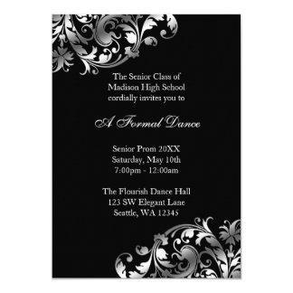 Homecoming invitations announcements zazzle silver and black flourish prom formal invitations stopboris Image collections