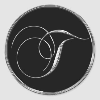 Silver And Black Formal Wedding Monogram T Seal Classic Round Sticker