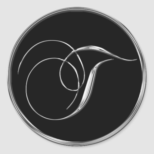 Silver And Black Formal Wedding Monogram T Seal Stickers