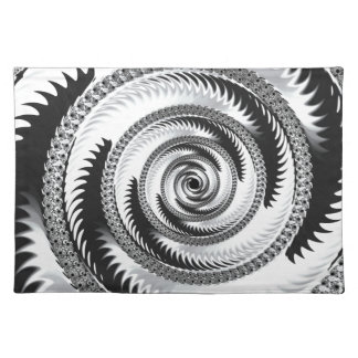 Silver and Black Fractal Art Place Mats