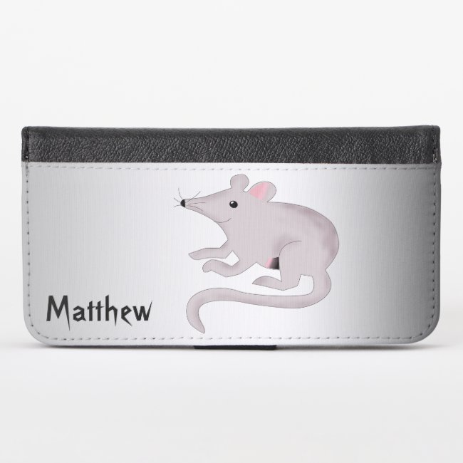 Silver and Black Friendly Rat iPhone X Wallet Case
