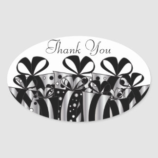 Silver and Black Gift Presents   Customize Oval Sticker