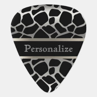Silver and Black Giraffe Pattern | DIY Text Guitar Pick
