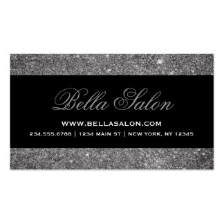 Silver and Black Glam Faux Glitter Double-Sided Standard Business Cards (Pack Of 100)