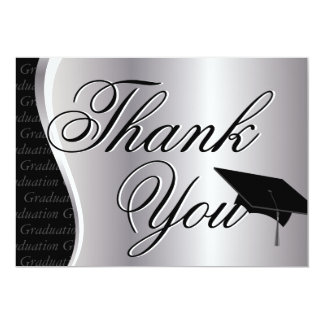 Silver and Black Graduation Thank You Card