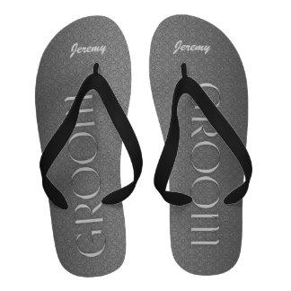 Silver and Black Groom s Wedding Slippers Flip-Flops