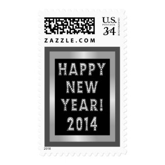 Silver and Black Happy New Year 2014 Stamps
