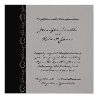 Silver and Black Heart on my Sleeve Wedding Invites
