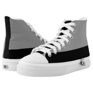 Silver and Black Hi-Top Printed Shoes