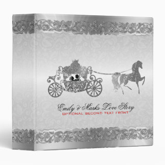 Silver And Black Horse & Carriage Wedding Design 2 Binders