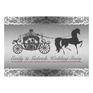 Silver And Black Horse & Carriage Wedding Design Large Business Cards (Pack Of 100)