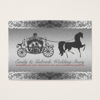 Silver And Black Horse & Carriage Wedding Design Business Card