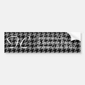 Silver and Black Houndstooth Bumper Sticker