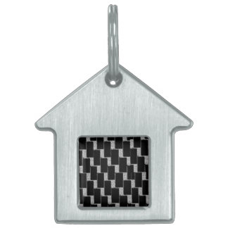 Silver and Black Illusion Pet Name Tag