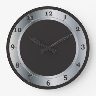 Silver and Black Industrial Style Large Clock