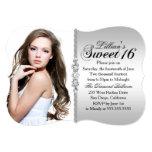 Silver and Black Jewel Damask Sweet 16 Birthday 5x7 Paper Invitation Card