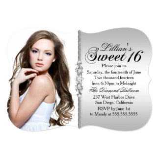 Silver and Black Jewel Damask Sweet 16 Birthday 5x7 Paper Invitation Card