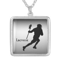 Silver and Black Lacrosse Sports Necklace