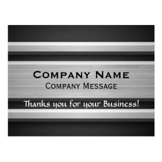 Silver and Black Metal Look Business Thank You Postcard