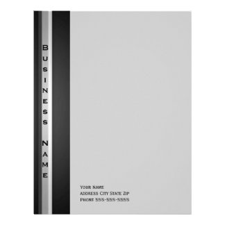 Silver and Black Metal Look Letterhead