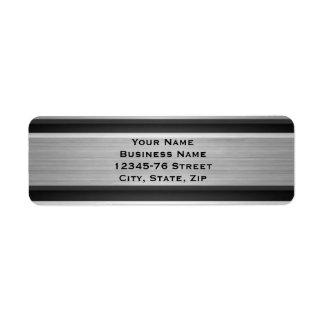 Silver and Black Metal Look Return Address Return Address Label