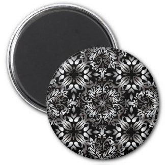 Silver and black modern floral magnet