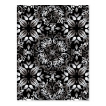 Silver and black modern floral post cards