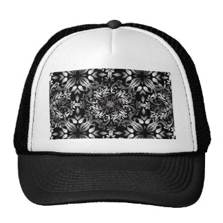 Silver and black modern floral trucker hat