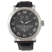 Silver and Black Monogram Men's Wrist Watch