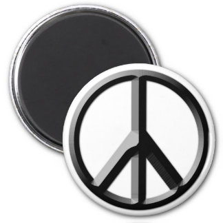 Silver and Black Peace Sign Magnet