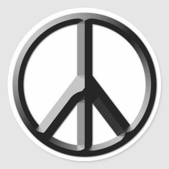 Silver and Black Peace Sign Sticker Sheet