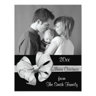 "Silver and Black Photo Christmas Card 4.25"" X 5.5"" Invitation Card"