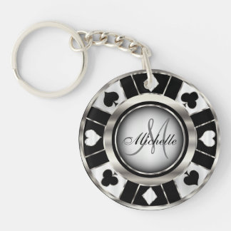 Silver and Black Poker Chip Design - Monogram Keychain