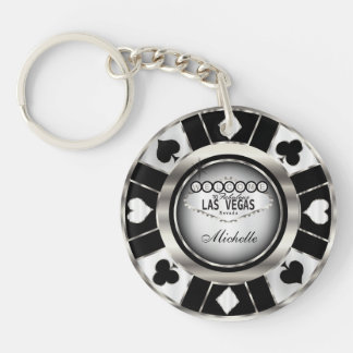 Silver and Black Poker Chip Design - Personalize Keychain