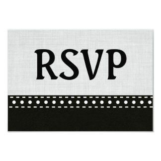 Silver and Black RSVP Stitches and Polka Dots V10E Card