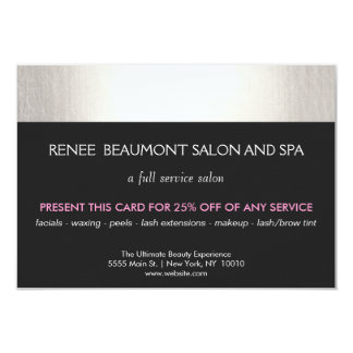 Silver and Black Salon and Spa Customer Coupon Card