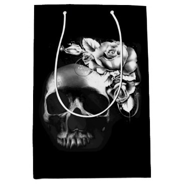 Halloween Themed Silver and black skull with roses medium gift bag