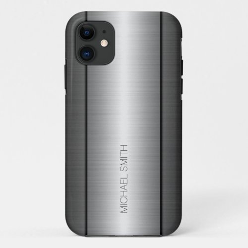 Silver and Black Stainless Steel Metal Phone Case