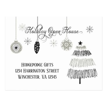 Professional Business Silver and Black Stylized Holiday Open House | Postcard