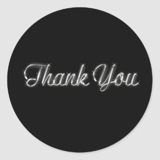 Silver and Black Thank You Sticker sticker