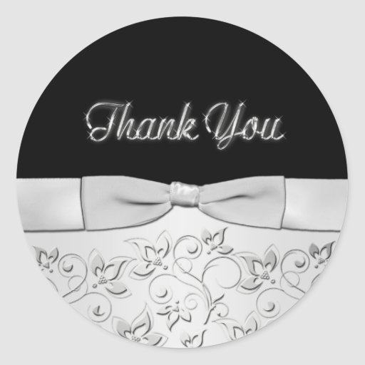 Silver and Black Thank You Sticker