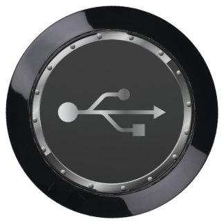 Silver and Black USB Trident Symbol USB Charging Station